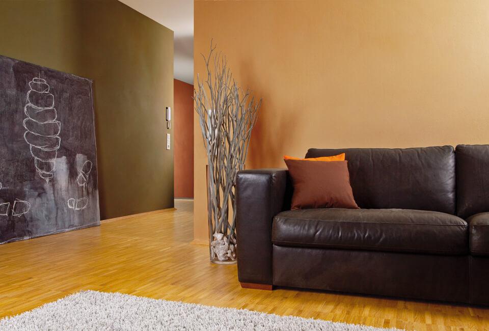 Wohnraum mit Claytec Lehmputz