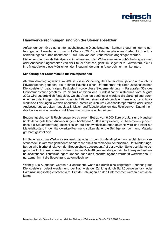Malerfachbetrieb Mathias Reinsch - Download Absetzbarkeit