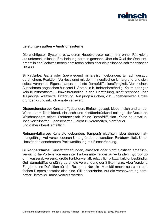 Malerfachbetrieb Mathias Reinsch - Download Anstrichsysteme